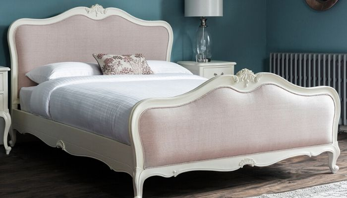 Chic Upholstered Bed Vanilla White