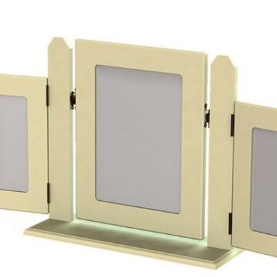 troscan white dressing table triple square mirror
