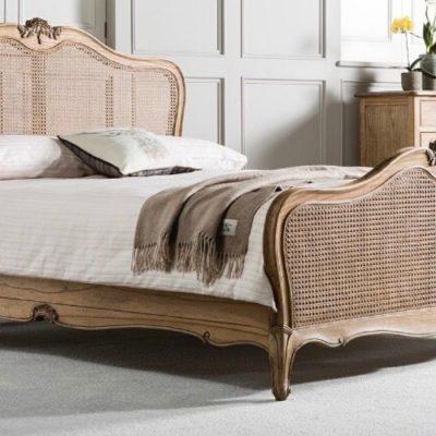 chic oak cane bedframe