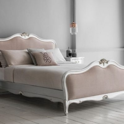 chic silver upholstered bed meath