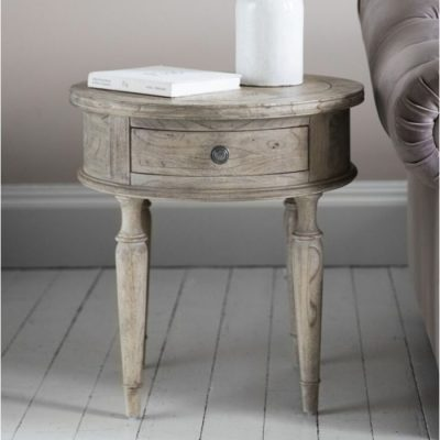 mustique round 1 drawer side table meath