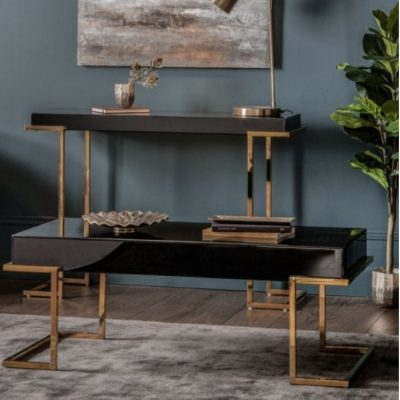 delray black mirrored coffee table meath